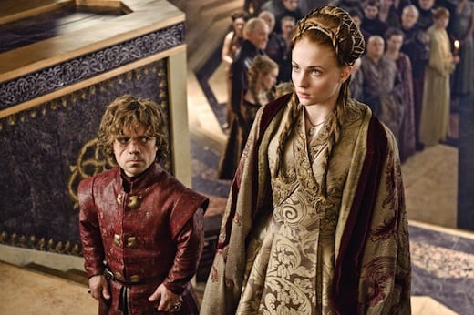 Tyrion (Peter Dinklage) and Sansa (Sophie Turner) are forced into an unwanted marriage.