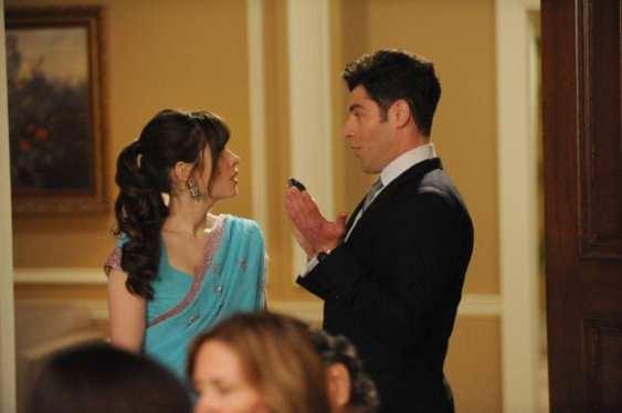 Jess (Zooey Deschanel) learns of Schmidt's (Max Greenfield) plans to ruin the wedding.