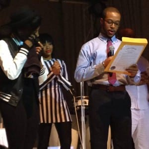 Segun Idowu, aspecial assistant to Boston City Councilor Charles C. Yancey, presented Monae with the resolution