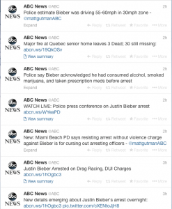 @ABC News' twitter feed between 8:09 a.m. and 8:53 a.m.