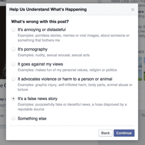Facebook will work to reduce the pervasiveness of fake news stories, but it will not take down content.
