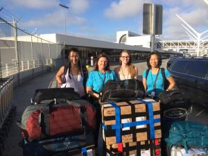 Emma Lewis, June Osborne, Sarah Osborne, and Dr. Patricia Wu arriving at LAX with 8 suitcases of donated medications (totaling over 200 lbs) preparing for their 2 week rotation in Fiji.
