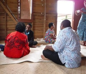 Dr. Ilikini Natini, a local Fijian doctor, meeting with patients on the island of Lomaloma.