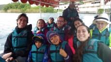 Boat ride around the lake; Pablo, Alyssa, Colleen, Dan, Ashley, Ryan, and Vera. In front are Vera's children who are ADORABLE.