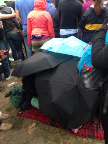 These girls in front of us made an umbrella fort, which sounded fun but also like it would be a really bad idea if it started raining any harder.
