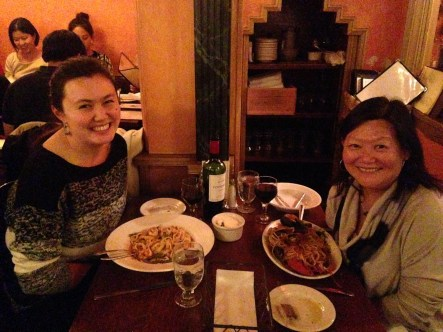Giacomo's for dinner, my mom post six hour flight, myself after a day at work