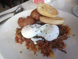 My mom's duck confeit and poached eggs, delicious (Stella)