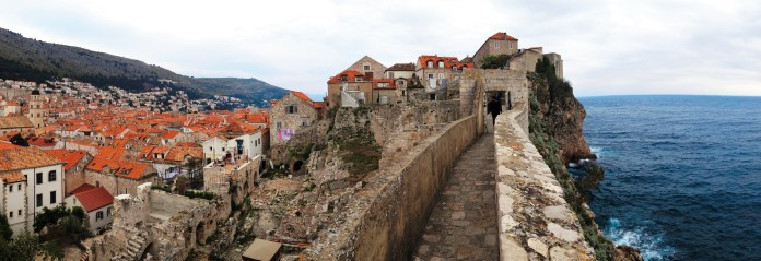 Hiking the old city wall in Dubrovnik, Croatia.