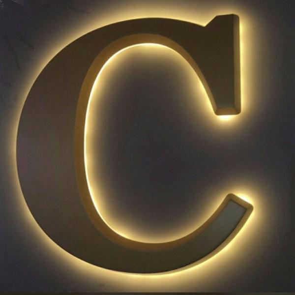 letra Muestras de letras con luz indirecta