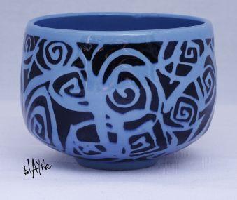 Small tea bowl, porcelain with a clear glaze.