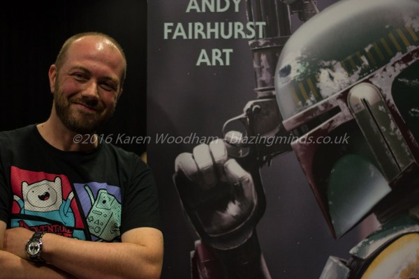 Andy Fairhurst posing for Blazing Minds at SciFi Wales 2016
