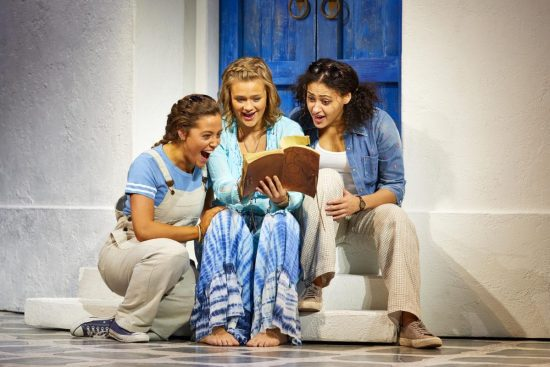 Blaise Colangelo (Lisa), Lucy May Barker (Sophie Sheridan) and Fia Houston-Hamilton (Ali) in MAMMA MIA! UK Tour 2017 Photo by Brinkhoff M+Âgenburg