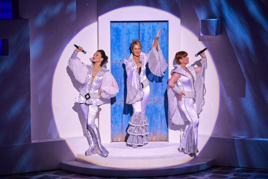 Emma Clifford (Tanya), Helen Hobson (Donna Sheridan) and Gillian Hardie (Rosie) in MAMMA MIA! UK Tour 2017 Photo by Brinkhoff M+Âgenburg