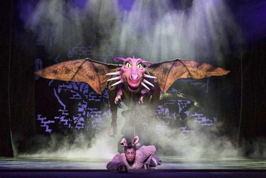 Marcus Ayton as Donkey. Shrek the Musical UK and Ireland tour 2018. Credit Helen Maybanks