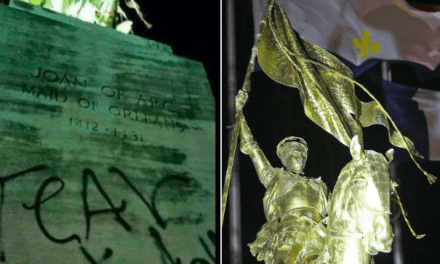 Alt-Left Tags Iconic NOLA Statue Of French Military Leader Joan of Arc