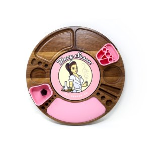 Walnut Spinning Rolling Tray with Pink Silicone Inserts