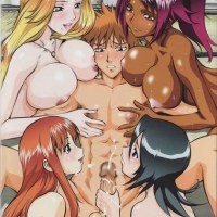 "Ichigo Kurosaki from ""Bleach"" is defenetely Fortunate Dude - 4 Red-hot Huge-titted Damsels wanting his cock... at the same time!"