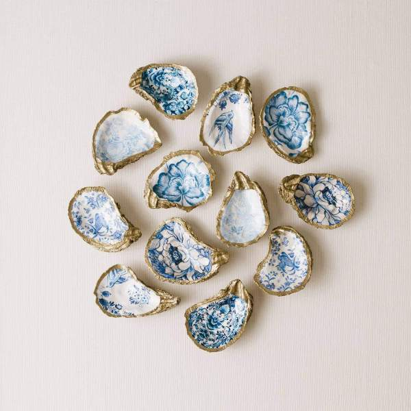 Indigo Floral Decoupage Oyster Ring Dish in Gift Box