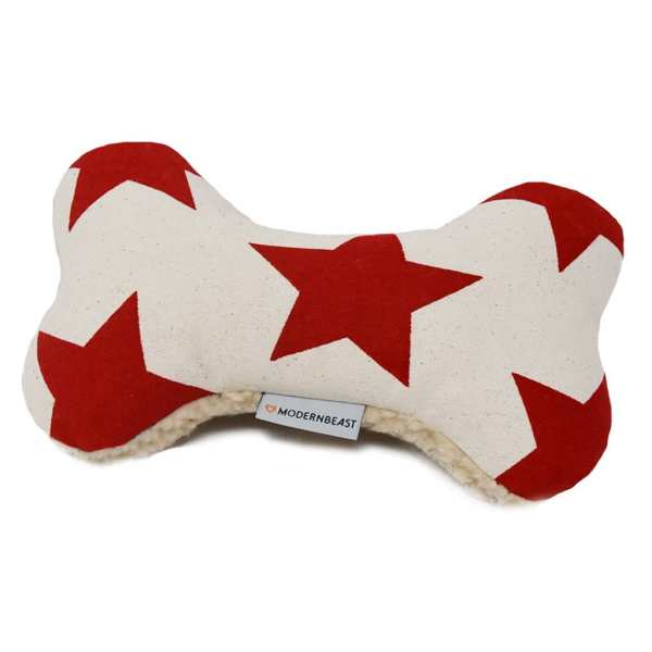 Red Star Pattern Zenbone Dog Toy with Squeaker
