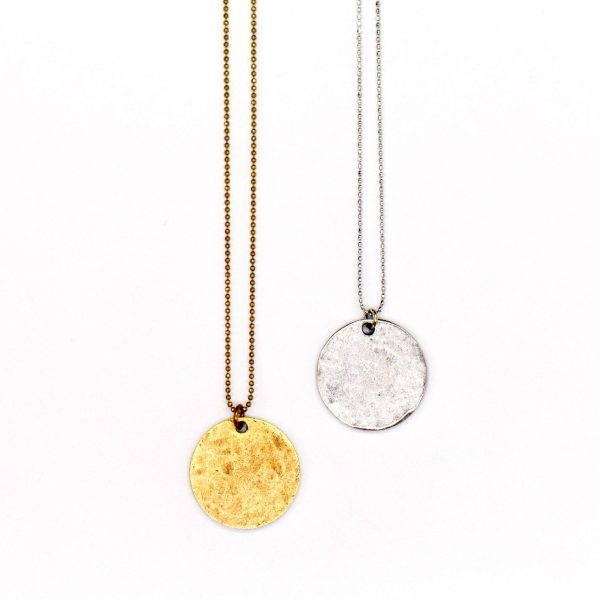 """Gold Hammered Circle Coin Necklace, 20"""" Length"""