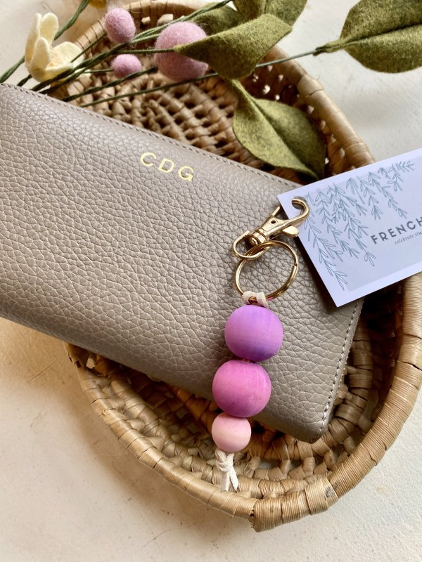 Minimalist Pink Ombre Wood Bead with Cream Leather Keychain