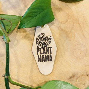 """Plant Mama"" Cowhide Pattern Leather & Velvet Keychain"