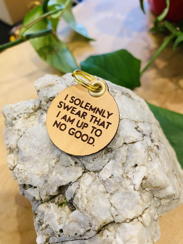 """""""I Solemnly Swear that I Am Up to No Good"""" Genuine Leather Pet Collar Tag"""