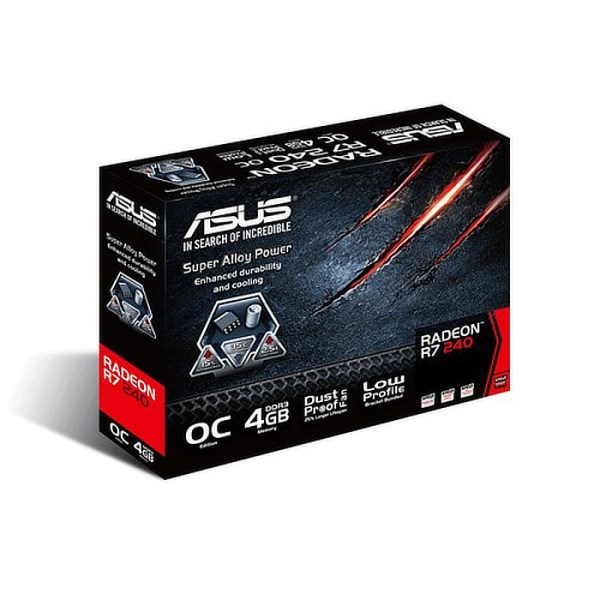 ASUS Radeon R7 240 Low Profile OC 4GB GDDR3 Graphics Card (90YV04T2-M0NA00)