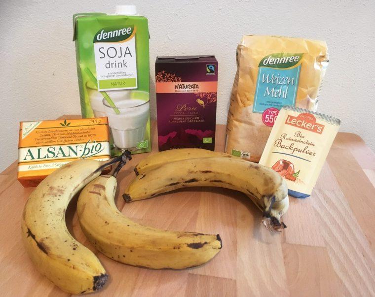 Zutaten für Schoko Bananen Kuchen ohne Zucker