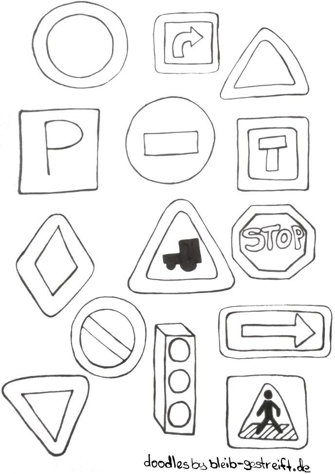 Doodles Verkehrszeichen. Doodles road sign