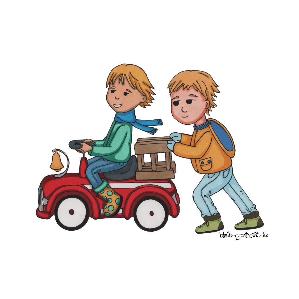 Kinderbuchillustrationen Jungs spielen