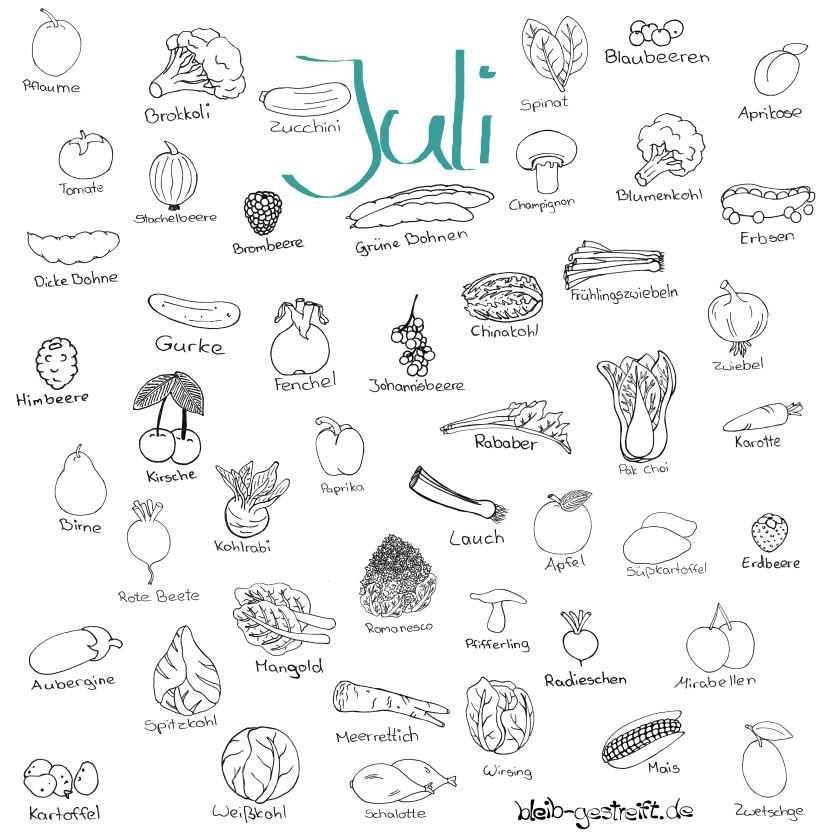 Doodle Saisonkalender Juli