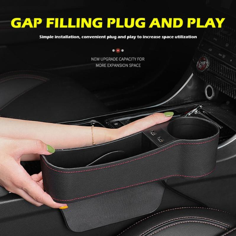 Premium Leather Car Seat Gap Organizer with 2 USB Charger