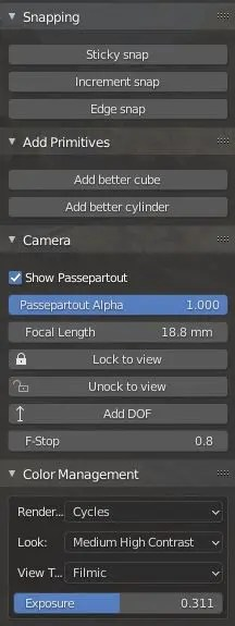 Camera. snapping, and other tools in the addon