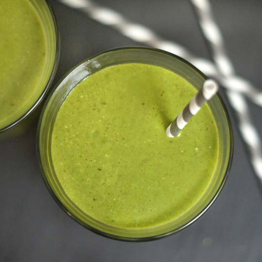 green lactation smoothie with coconut
