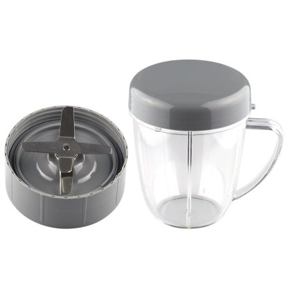18 oz Handled Short Cup with Stay Fresh Lid and Extractor Blade Replacement Part Compatible with NutriBullet NB-101B NB-101S NB-201