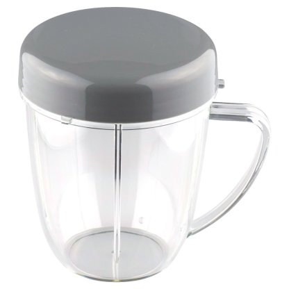 NutriBullet 18 oz Handled Short Cup with Re-Sealable Lid and Flip To-Go Lid