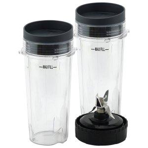 2 Pack 16 oz Cup with Lid and Extractor Blade for Nutri Ninja BL770 BL771 BL772 BL773CO BL780 BL810 BL820 BL830 Parts 303KKU 305KKU 322KKU770