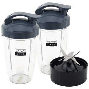 2 Pack 24 oz Tall Cups with Flip To Go Lids + Extractor Blade for Nutribullet Lean NB-203 1200W Blender