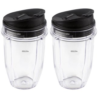 2 Pack Nutri Ninja 18 oz Cups with Sip & Seal Lids Replacement Model 427KKU450 408KKU641