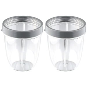 2 Pack 18 oz Short Cup Includes Lip Ring Replacement Parts Compatible with NutriBullet 600W 900W Blenders NB-101B NB-101S NB-201