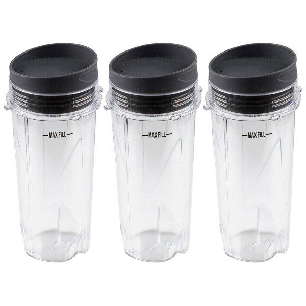 3 Nutri Ninja 16 oz Cups with To-Go Lids Replacement Model 303KKU for BL660 BL663 BL663CO BL665Q BL740 BL780 BL810 BL820 BL830