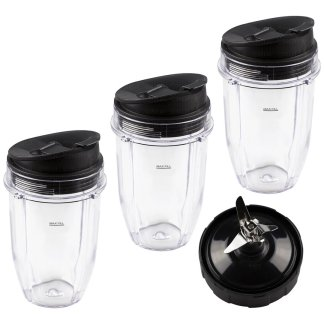 3 Nutri Ninja 18 oz Cups with Sip & Seal Lids and 1 Extractor Blade Replacement Combo 427KKU450 408KKU641 409KKU641
