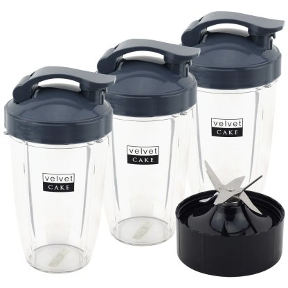 3 Pack 24 oz Tall Cups with Flip To Go Lids + Extractor Blade for NutriBullet Lean NB-203 1200W Blender