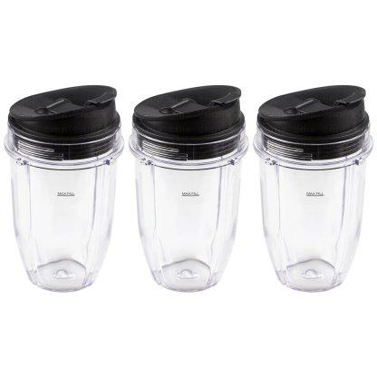 3 Pack Nutri Ninja 18 oz Cups with Sip & Seal Lids Replacement Model 427KKU450 408KKU641