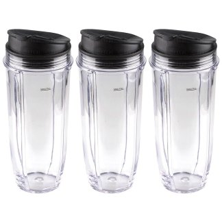 3 Pack Nutri Ninja Jumbo Multi-Serve 32 oz Cups with Sip & Seal Lids Replacement Model 407KKU641 408KKU641