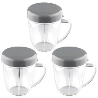 3 Pack NutriBullet 18 oz Handled Short Cup with Re-Sealable Lid