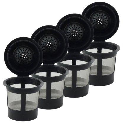 4 Pack Keurig Single K-Cup Solo Reusable Coffee Filter Pods Stainless Mesh for K10 K15 K40 K45 K55 K60 K65 K70 K75 K79