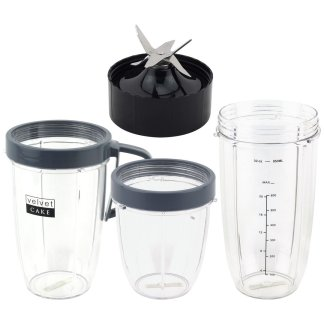 18 oz 24 oz 32 oz Cups & Extractor Blade Deluxe Upgrade Kit Replacement Parts Compatible with NutriBullet Lean NB-203 1200W Blenders