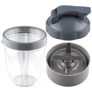 18 oz Short Cup with Lip Ring, Flip To-Go Lid and Extractor Blade Replacement Part Compatible with NutriBullet NB-101B NB-101S NB-201
